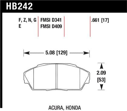 Hawk Acura Integra/Legend / Honda Accord/Civic/Prelude Blue 9012 Race Front Brake Pads