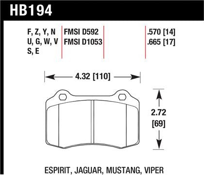 Hawk 2010 Camaro SS Performance Ceramic Street Rear Brake Pads