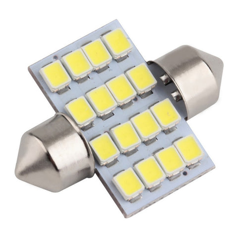 16 SMD LED 1210 31mm Car Interior Dome Festoon Bulb Light Lamp White DC 12V