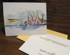 Lighthouse & Space Needle — cards & prints