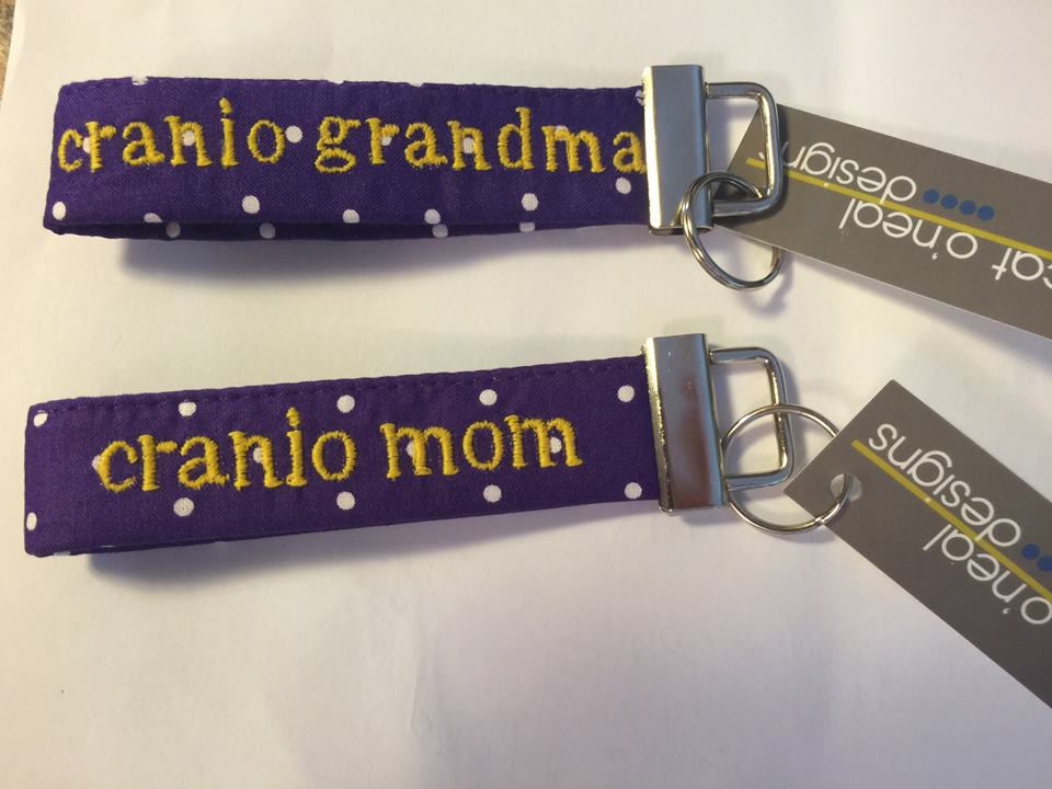 Cranio Mom or Cranio Grandma Embroidered Fobskey Keychains