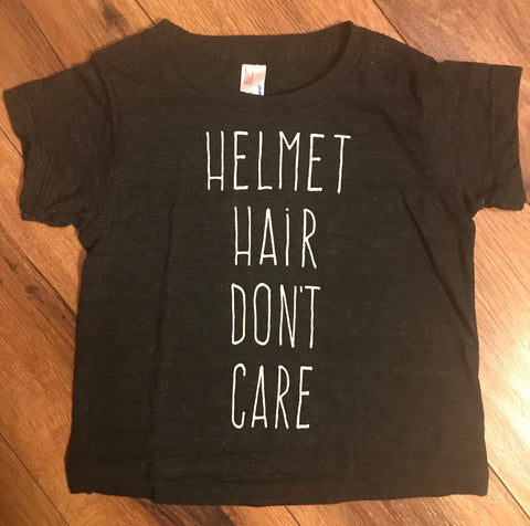 Helmet Hair Don't Care T-shirt's & Onsies
