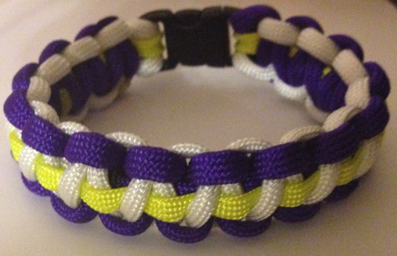 Purple/White/Yellow Line Paracord Bracelet