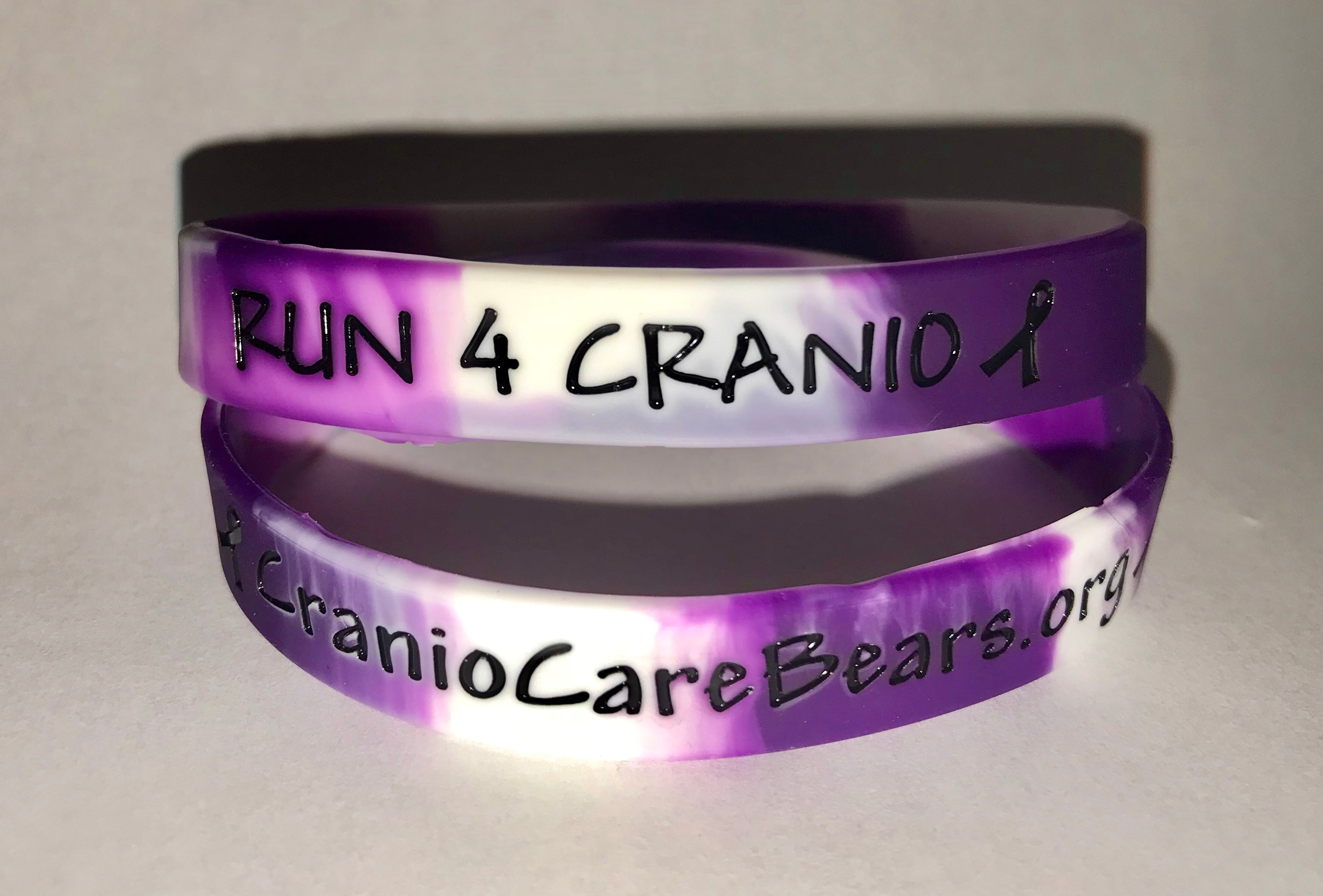 Run4Cranio Purple & White Wristband