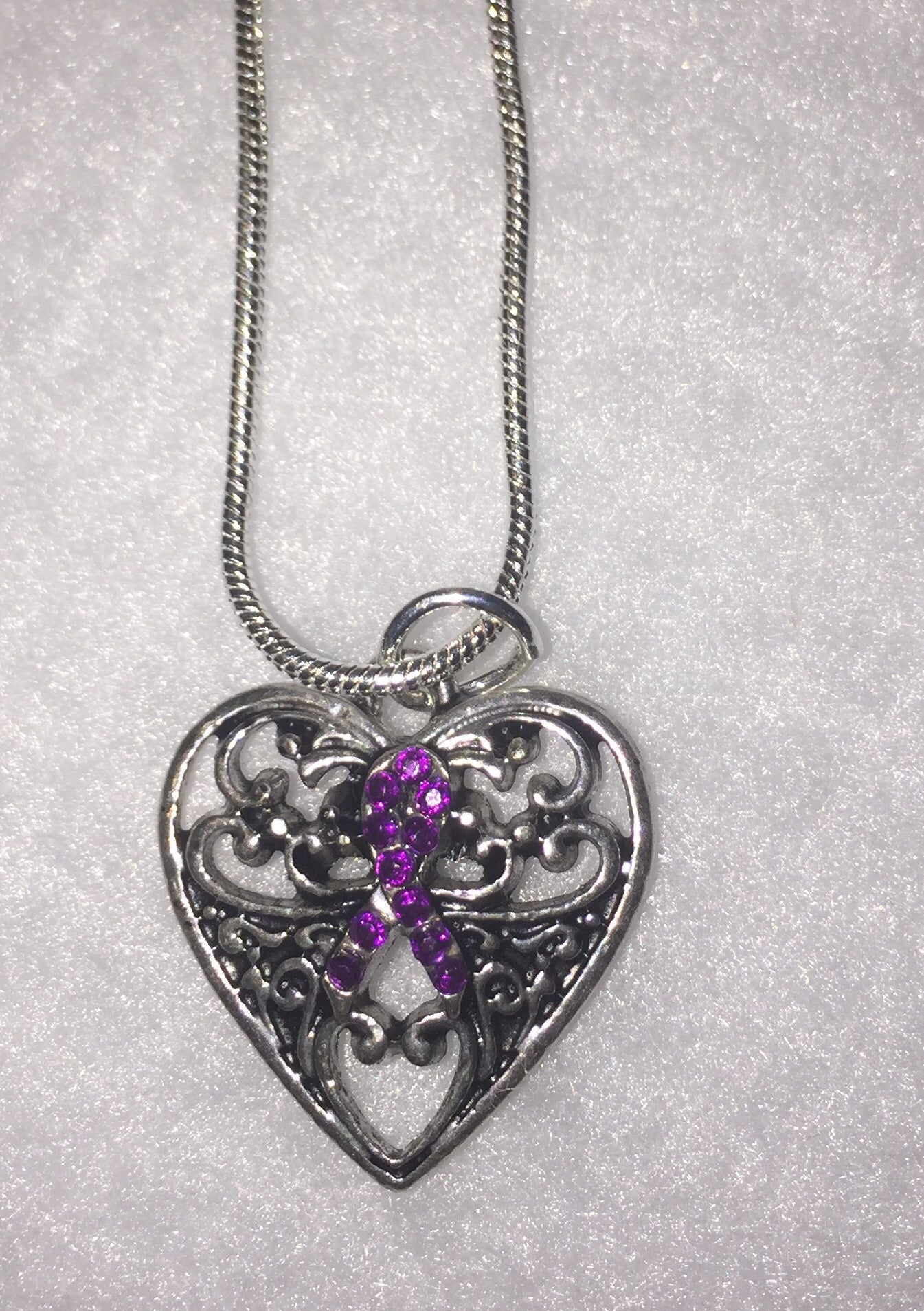 Craniosynostosis Purple Stoned Ribbon in Heart Awareness Necklace
