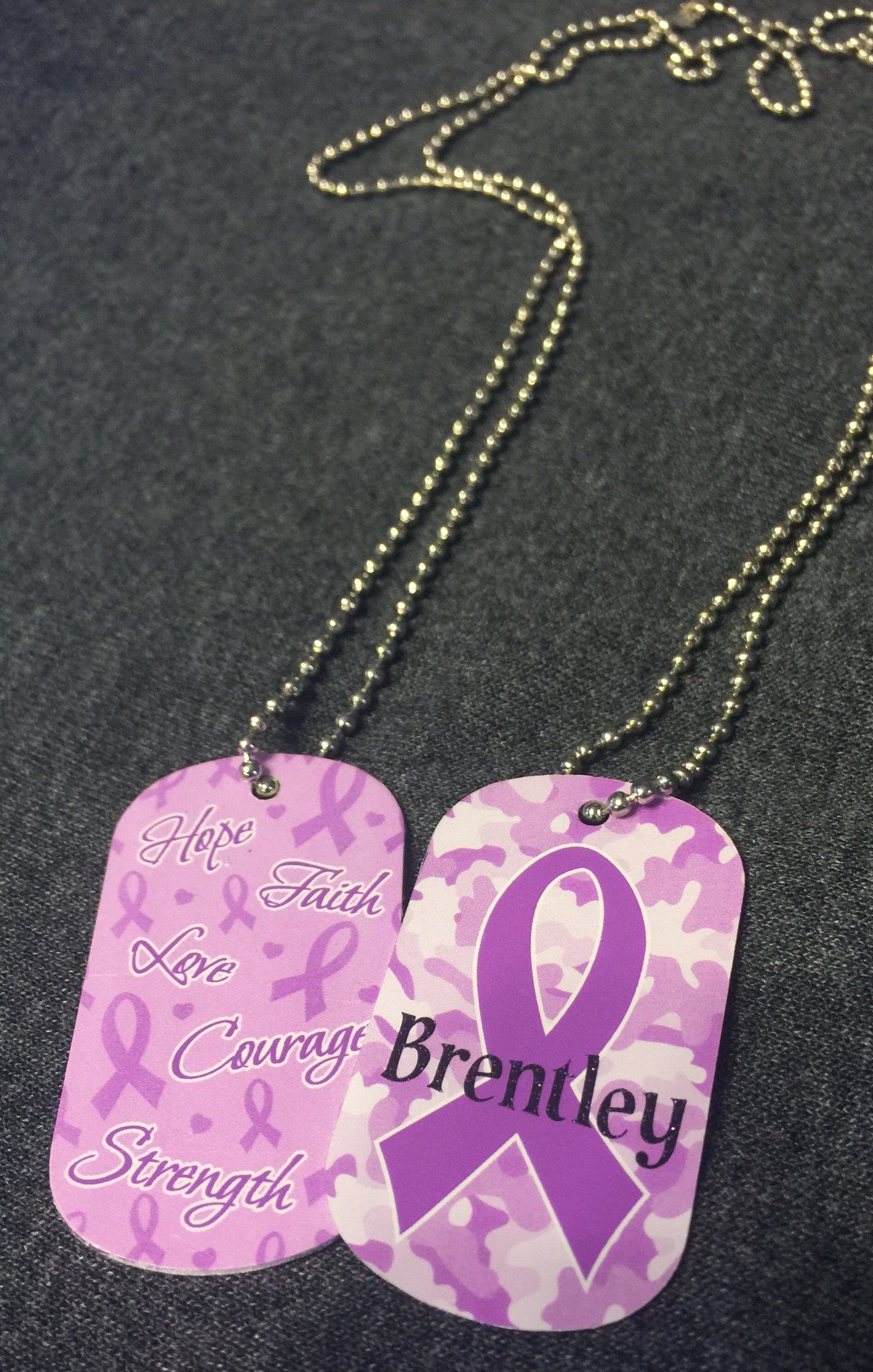 Dog tag Ribbon Awareness Necklace with custom name