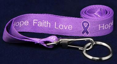 Hope-Faith-Love Purple Ribbon Awareness Lanyard