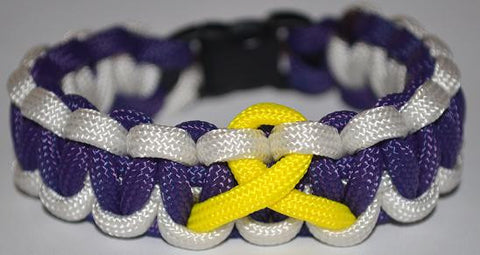 SALE-Purple/White/Yellow Ribbon Paracord Bracelet