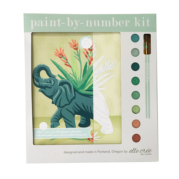 Elephant in Ceramic Planter Paint-by-Number Kit