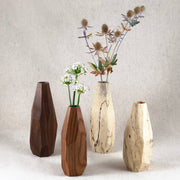 Salted Tamarind and Walnut Wood Geometric Bud Vases from Fernweh Woodworking, Made in Bend, OR