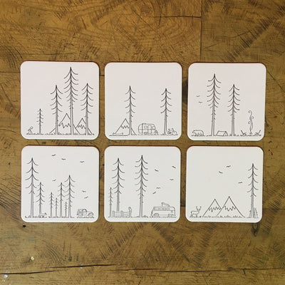 Minimal Adventure Letterpress Coasters