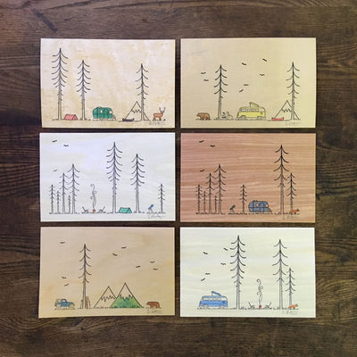 Minimal Adventure Letterpress and Watercolour Wood Prints
