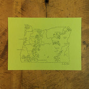 Oregon State Map Letterpress Print