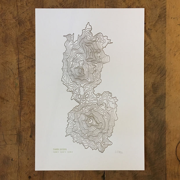 Topographical Map Letterpress Print - Oregon
