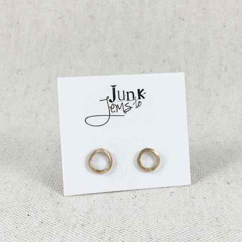 Modern Geometric Gold Circle Studs from Junk to Jems, handmade in Oregon