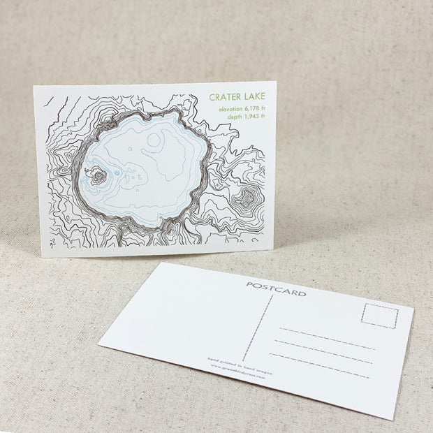 Crater Lake Postcard letterpress printed by Green Bird Press