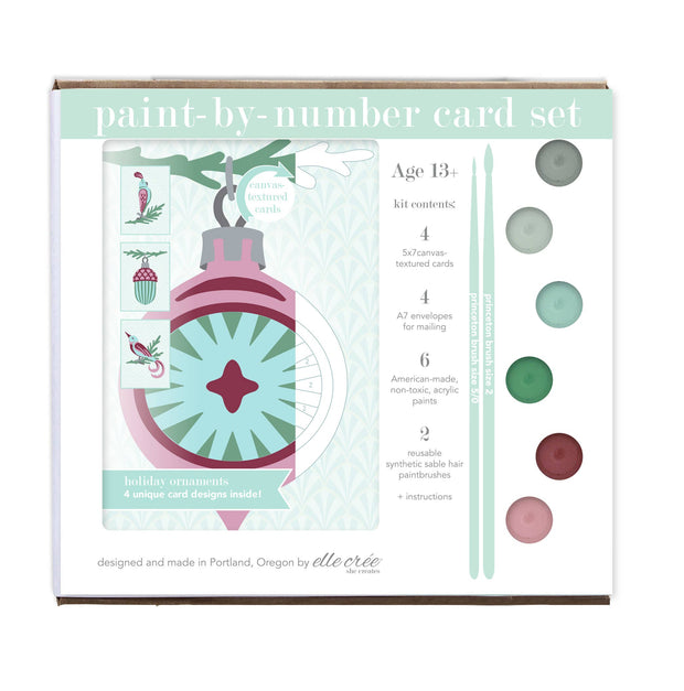 Paint-by-Number Card Sets - Holiday Ornaments