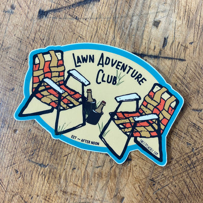 Lawn adventure club sticker by Sweet Pea Cole made in Bend Oregon