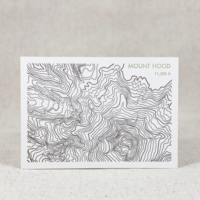 Mount Hood Topographic Postcard, Made in Oregon letterpress by Green Bird Press