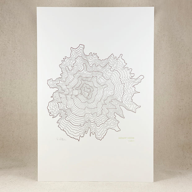 Mount Hood Topographic Map by Green Bird Press Made in Oregon