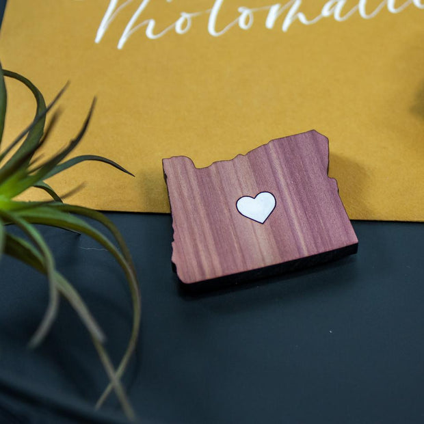 Leemo Designs Oregon Heart Cedar Wooden Magnet | Made in Bend, Oregon