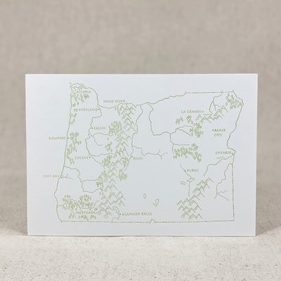 Oregon State Map Letterpress Postcard by Green Bird Press Made in Oregon
