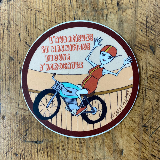Risky acrobat sticker by Sweet Pea Cole, made in Bend, Oregon
