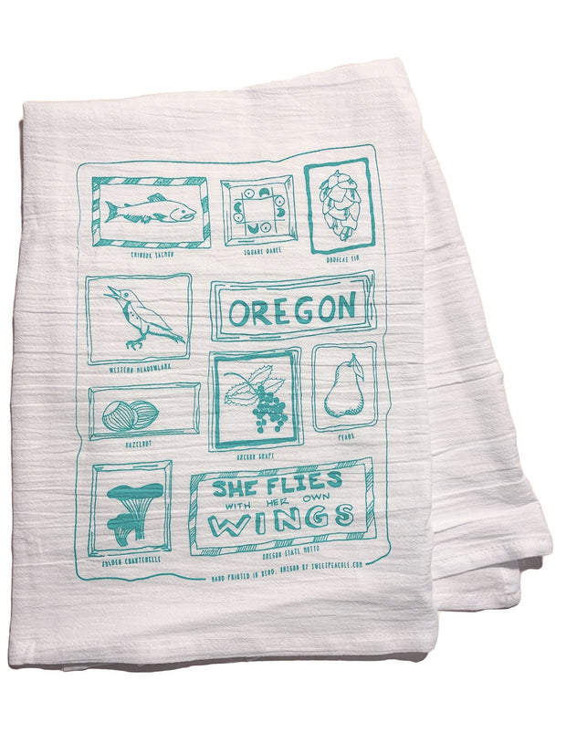 Oregon Tea Towel by Sweet Pea Cole, 100% cotton, Made in Bend, Oregon