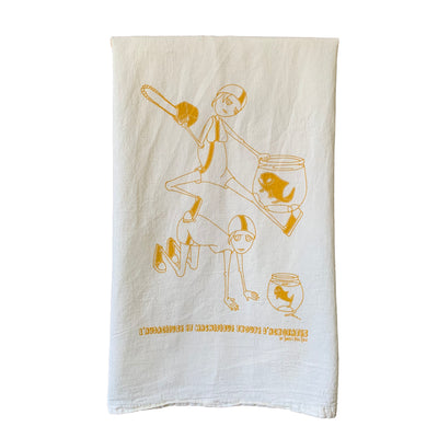 risky moves tea towel by Sweet Pea Cole, made in Oregon