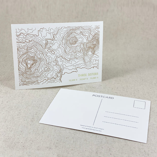 Three Sisters postcard letterpress printed by Green Bird Press in Bend Oregon