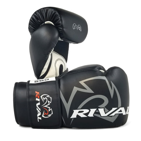 Silver//Black Rival Boxing RB7 Fitness Hook and Loop Bag Gloves