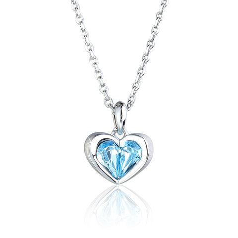 Blue Heart Pendant Necklace with Swarovski Crystal