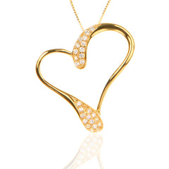 925 Sterling Silver Gold tone Open Heart Pendant Necklace with Cubic Zirconia
