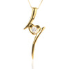 925 Sterling Silver Gold Heart Pendant Necklace with Cubic Zirconia