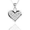 925 Sterling Silver Heart Lock Style Pendant Necklace with Cubic Zirconia