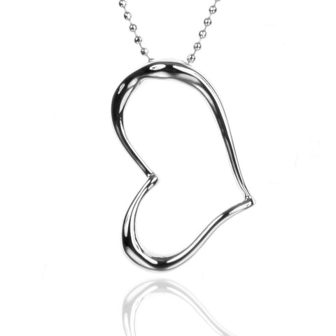 Stainless Steel Open Heart Pendant Necklace