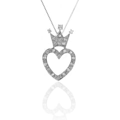 925 Sterling Silver Crown Open Heart Pendant Necklace