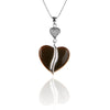 925 Sterling Silver Agate Heart Pendant Necklace with CZ