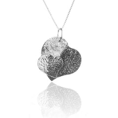 925 Sterling Silver Solid Double HEART Pendant Necklace