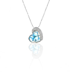 925 Sterling Silver Blue Zircon HEART Pendant