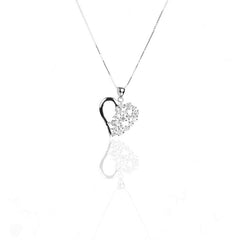 925 Sterling Silver Half Semi-Pave Set HEART Pendant Necklace