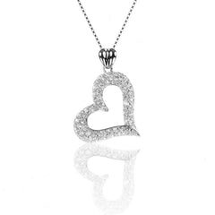 925 Sterling Silver Pave Set Open HEART Pendant Necklace