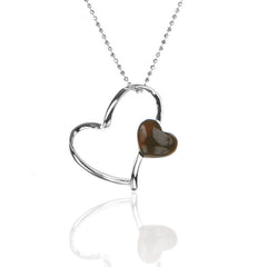 925 Sterling Silver Open HEART Pendant with Agate