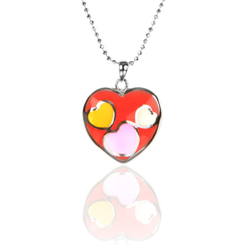 925 Sterling Silver & Red Resin HEART to HEART Pendant