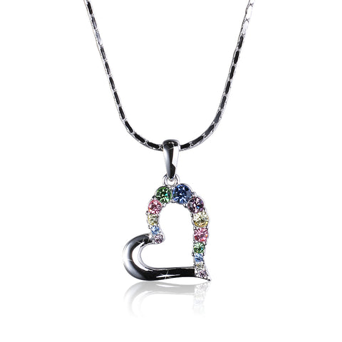 Multi-color Swarovski Elements Open Heart Pendant with Necklace