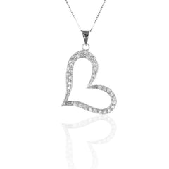 925 Sterling Silver Open Heart Pendant with Necklace