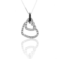 925 Sterling Silver Double Heart Pendant with Necklace