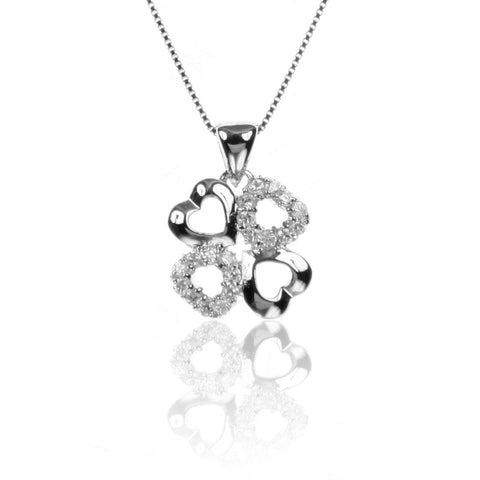 Lucky Four-Leaf Clover HEART Pendant Necklace with CZ in Sterling Silver