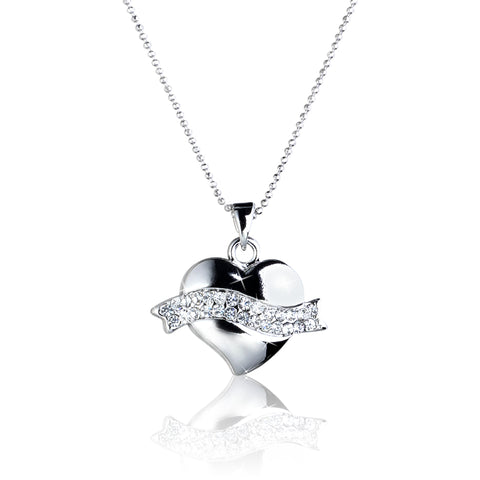 Ribbon HEART Pendant Necklace with Crystal