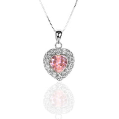 925 Sterling Silver HEART Pendant with Pink and White Cubic Zirconia